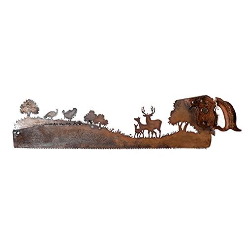Metal Art Baum-Wanddekoration, Handsäge, Metallkunst, alte Vintage-Metallhandsäge mit Holzgriff, handgeschliffenes Plasma-Fackel-Design auf einer alten Säge, bestes Geschenk für Vatertag (D)