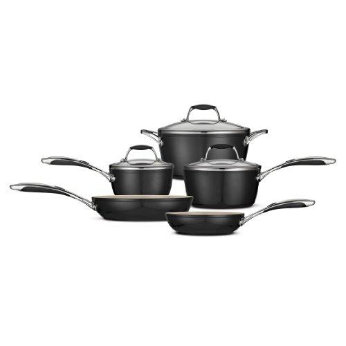 Tramontina 80110/200DS Gourmet Ceramica Deluxe Cookware Set, PFOA- PTFE- Lead and Cadmium-Free Ceramic Interior, 8-Piece, Metallic Black, Made in Italy