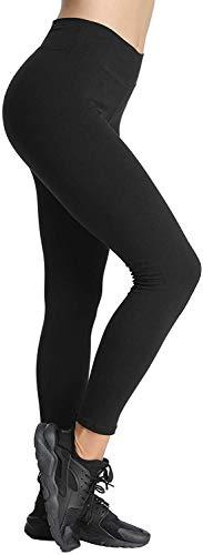 4How Yoga Leggins Damen Schwarz blickdicht Baumwollleggings Basic Leggings Winter für Frauen Jogginghose Strumpfhosen Sport Tights XL(42/44)