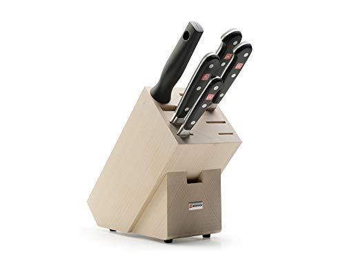 Wüsthof Messerblock 5-teilig, Classic (9832), Küchenmesser Block (helle Buche) mit 4 Kochmessern und 1 Wetzstahl, hochwertiges Kochmesser-Set