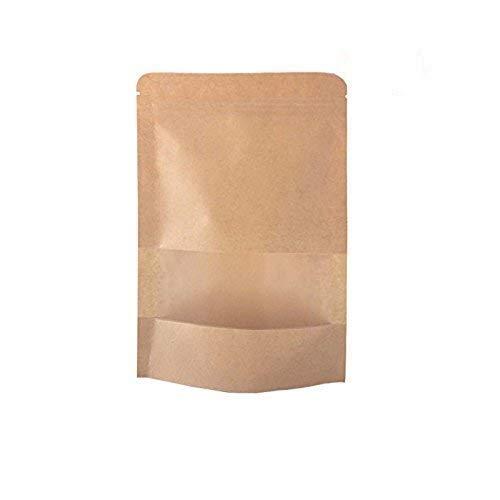 DecentGadget, confezione da 12 sacchetti in carta kraft chiudibili e riutilizzabili, sacchetto per alimenti con finestra trasparente per caffè in grani, foglia di tè, snack ecc., 20*14cm 50pcs