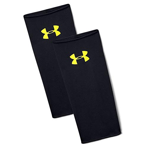 Under Armour Shinguard Sleeves Medias espinilleras, Hombre, Negro (Black/High Vis Yellow 001), M
