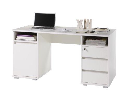 Stella Trading Primus Schreibtisch, Holzdekor, Weiß, ca. 145 x 74 x 65 cm