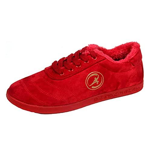 Mujeres Mess MARTAL Artes Marciales Zapatos, Invierno Caliente Tai-CHI Sneakers Classic Kung Fu Entrenadores Antideslizantes Unisex Lienzo Caminar Fitness Foorwears,Rojo,43 EU