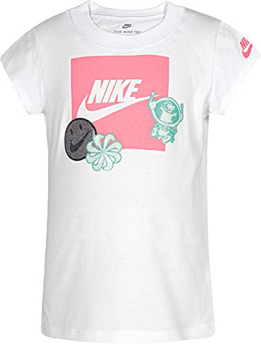 Nike Little Girls DNA Stickers - Camiseta, 6X, Blanco