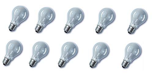 10 lampadine a incandescenza standard E27, 100 W, 100 Watt, 230 V, colore: Trasparente