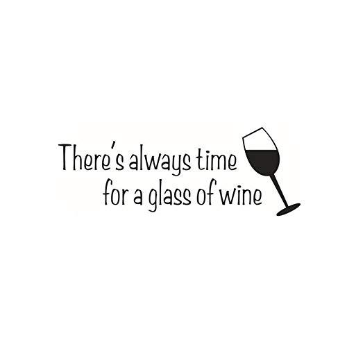 Er is altijd tijd voor een glas wijn Vinyl Muursticker Geniet van het leven Verwijderbare Art Decal 21.3x58cm