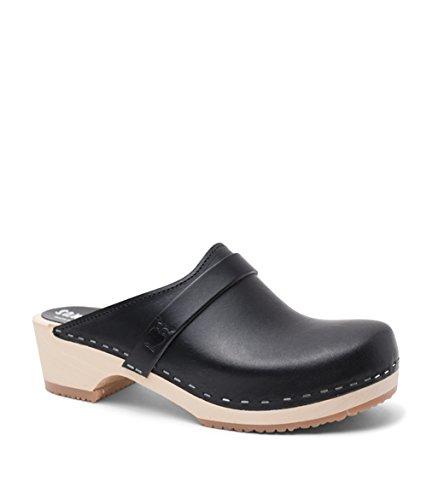 Sandgrens Swedish Low Heel Wooden Clog Mules for Women, US 7-7.5 | Tokyo Black Veg, EU 38