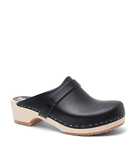 Sandgrens Swedish Low Heel Wooden Clog Mules for Women, US 7-7.5 | Tokyo Black Veg, EU 38