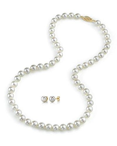 7.5–8.0mm Hanadama Bianco Akoya collana di perle e orecchini abbinati, lunghezza 43cm