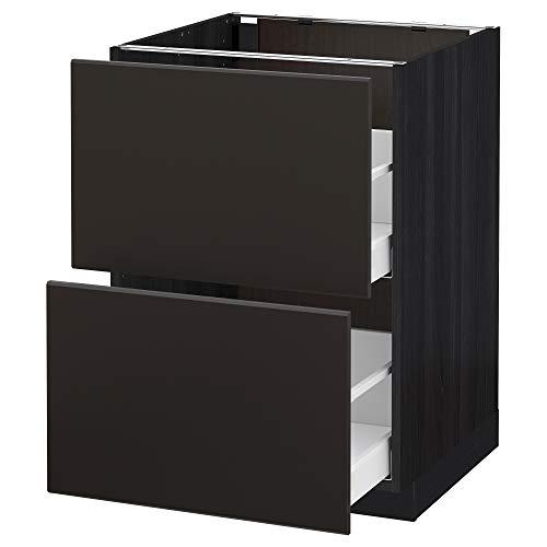 METOD/Maxim bas cb 2 fronter/2 höga lådor 60 x 61 x 88 cm svart/Kungsbacka antracit