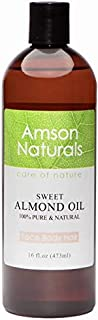 Sweet Almond 16oz/473ml- by Amson Naturals -Pure & Natural from Spain, cold pressed - for face, body hair,massage.