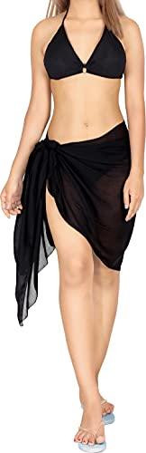 "LA LEELA Shawls Scarves Scarf Women's Sarong Wrap Swimwear Cover Up Beach Yoga Mat 72""x21"" Black_D548"
