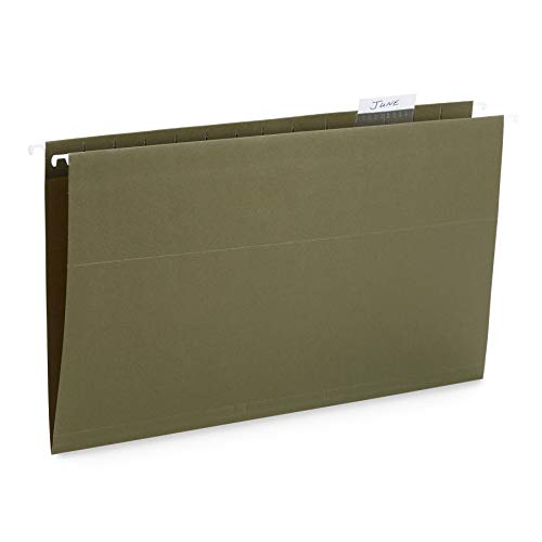 Blue Summit Supplies 50 Legal Size Hanging File Folders, 1/5 Cut Adjustable Tabs, Legal Size, 5 Tab Locations, Designed for Legal and Law Office File Organization, Standard Green, 50 Pack, Legal Size