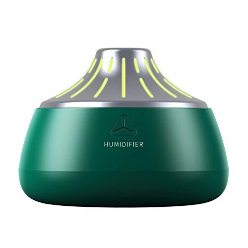 SODIAL Humidificador Volcánico USB Difusor de Aroma Ultrasónico Cool Mist Maker Purificador Humidificador de Aire con Luces - Verde y Plateado