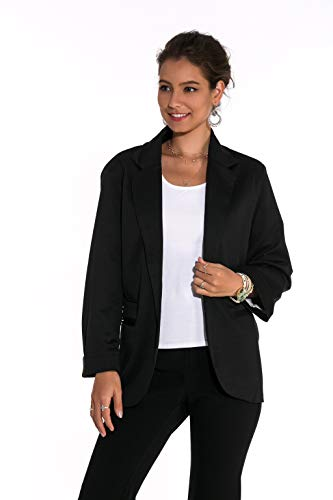 Somliz Women's Rolled Up Sleeve Casual Work Office Blazer Open Front No-Buckle Solid Color Knit Jacket Black