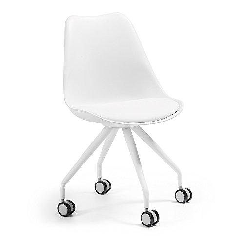 Kave Home - Silla de Oficina Ralf Blanca de Piel sintética y Patas de Acero en Blanco con Ruedas