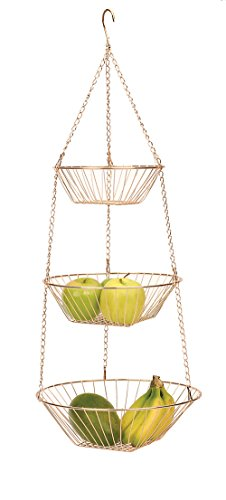 RSVP Copper 3 Tier Hanging Wire Metal Basket Fruit Vegetable Kitchen Versatile