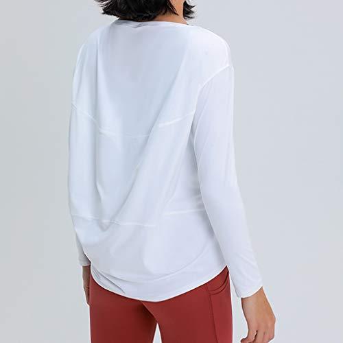 WYBFZTT-188 Frauen langärmelig Yoga Shirts lose atmungsaktive T-Shirt Sport fließender T-Stück Feuchtigkeitsdocht-Training Hemden Saum Tunika-Tanktop (Size : Small)
