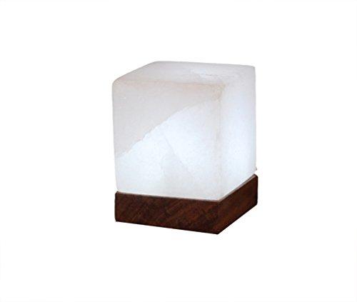 HIMALAYA SALT DREAMS - verlicht zoutkristal KUBUS White Line, met houten sokkel, inclusief elektrische en speciale lampen (E14)