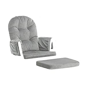 5pc Glider Rocking Chair & Ottoman Baby Nursery Replacement Cushions Velvet Gray