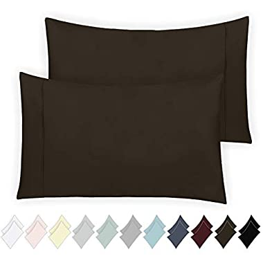 California Design Den 400 Thread Count 100% Cotton Pillowcase Set of 2, Long - Staple Combed Pure Natural Cotton Pillowcase, Soft & Silky Sateen Weave (Standard, Chocolate Brown)