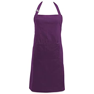 DII Cotton Adjustable Kitchen Chef Apron with Pocket and Extra Long Ties, 32 x 28, Commercial Men & Women Bib Apron for Cooking, Baking, Crafting, Work Shop, BBQ-Eggplant