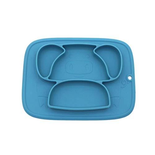 Recipiente de Silicona para bebés Recipiente de alimentación Mantel Individual Vajilla Alimentos para niños Platos para bebés Alimentación Infantil-Azul