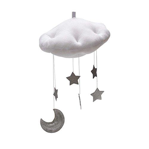 YeahiBaby Baby Mobile Bett Mobile Weiße Wolken Silber Mond Sterne Decke Hängen Kinderzimmer Dekoration