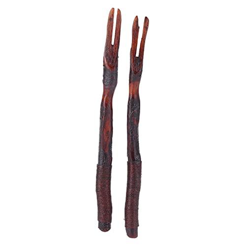 01 Tenedor de Cocina, Tenedores de Madera Tenedor de vajilla Tenedor de 2 Piezas Tenedor de Madera con Alambre enredado de Madera para Cocina Hogar Restaurante