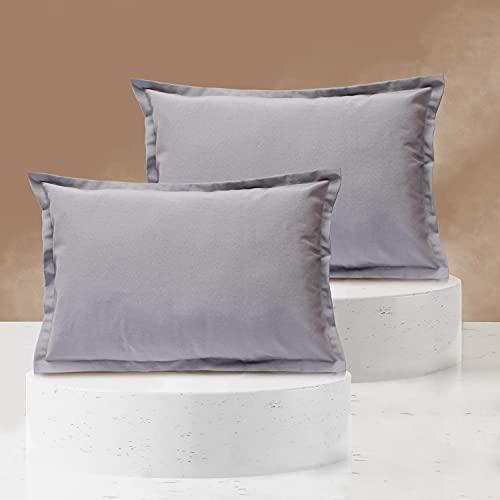 Viste tu hogar Pack 2 Fundas de Cojin 40x60 cm, Algodón y Poliéster, para Decoración de Hogar en Color Gris Liso.