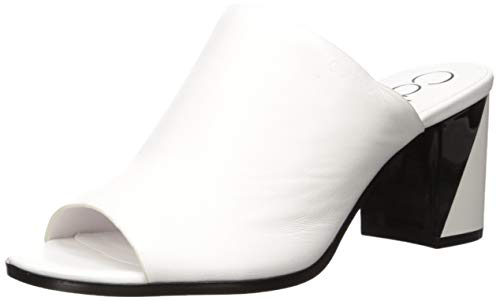 Calvin Klein Damen Coral Sandalen mit Absatz, Weißes Leder, 37.5 EU
