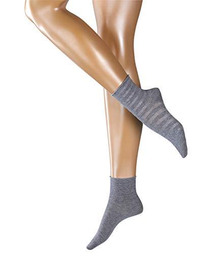 ESPRIT Damen Socken Luminous Stripe 2er Pack - Baumwollmischung, 2 Paare, Grau (Light Grey 3400), Größe: 39-42