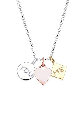 Elli Halskette Damen Herz You Me Tri-Color in 925 Sterling Silber vergoldet