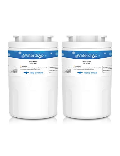 Waterdrop MWF Fridge Freezer Water Filter for General Electric GE SmartWater MWF, MWFA, MWFP, GWF, GWFA, GWF01; Hotpoint HWF, HWFA, MWF, MWFA; Sears/Kenmore 9991, 46-9991, 469991, 9996, 9905 (2)