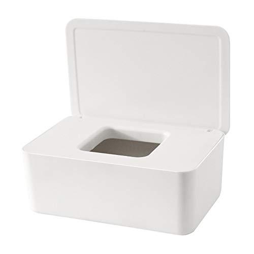 jeerbly Caja dispensadora de 2 toallitas para bebés, caja de almacenamiento para servilletas, caja de papel higiénico con sello de tapa para oficina en el hogar