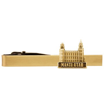 LDS Mens Manti Utah Temple Gold Steel Tie Tac / Tie Pin for Boys
