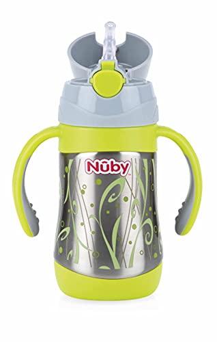 Nuby ID10279 - Vaso con pajita y asas de acero inoxidable, 280 ml