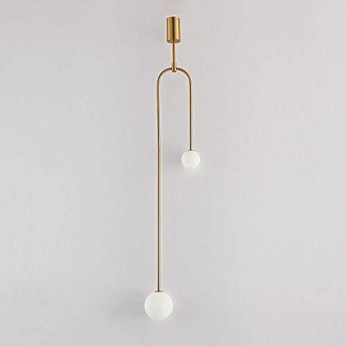WEM Lámpara colgante moderna para lámpara de techo, pantalla de cristal de globo blanco, lámpara colgante de metal, luces de suspensión simples para sala de estar, dormitorio, escaleras de noche, caf
