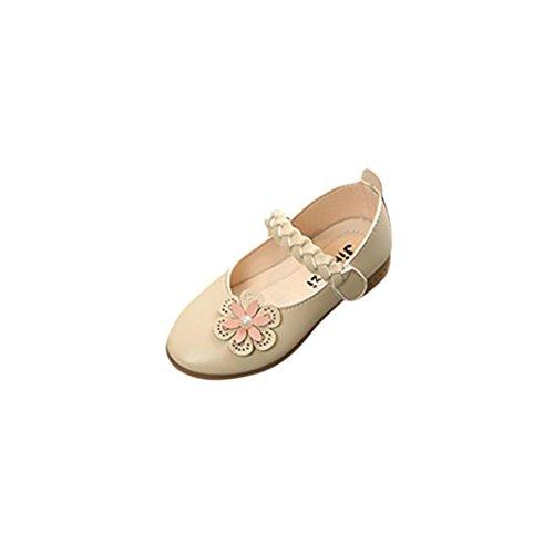 TPulling Mode Sommer Und Frühling﹛3T-8.5T﹜Kinder Mode Mädchen﹛Geflochten Blumen Perlen﹜Leder Weben Floral Prinzessin Sandelholz Weichen Schuhe Turnschuhe Lässige Einzelne Schuhe (Beige, 32=EU:31)