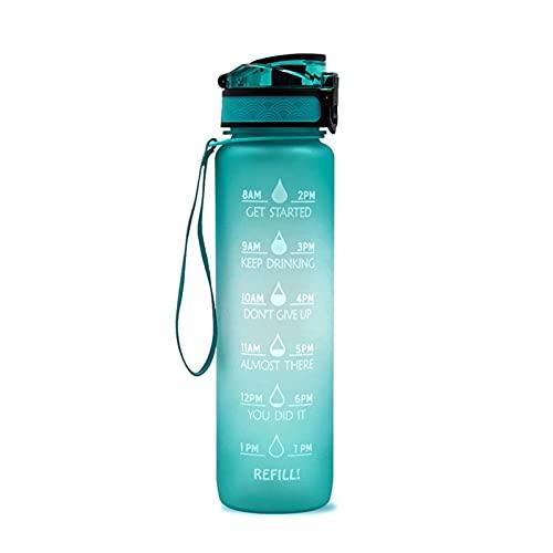 ZZDH Botella de Agua Deportiva Botella a Prueba de Fugas para la Botella de Agua Deportiva de Fitness con Marcador de Tiempo Adecuado para Fitness, Deportes al Aire Libre (Color : Green Gradient)