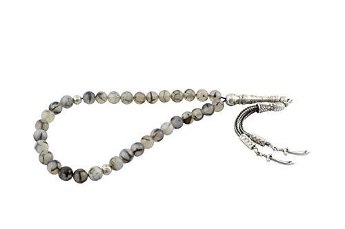 Gök-Türk Prayer beads Tesbih Tasbih with 33 beads made of natural stone agate Akik (Zülfikar sword Hz. Ali, 3 Hilal, Tugra, Wolf Bozkurt, Ertugrul, Turk, Ay Yildiz)
