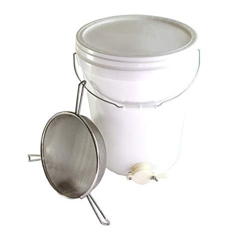 Beekeeping 25 l Absetzbehälter mit Ventil und dreigelagigem Honigsieb