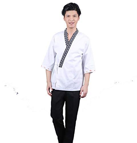 Jolie Sencillo Hombres japonés Chaqueta Chef Manga 3/4 Blanco Kimono Suave y Transpirable Camisa de Cocinero,XL