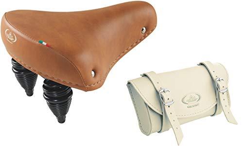 Montegrappa - Selle originale ultra douce en cuir synthétique modèle 013 (miel) + sac de rangement mod. 0016 (Crème)