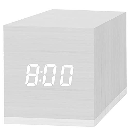 HBOY Reloj Despertador Digital, con Pantalla De Tiempo LED Electrónica De Madera, 3 Alarmas Dual Plus, Mini Relojes Eléctricos Pequeños De Madera De 2,5 Pulgadas Cúbicos para Dormitorio。 White,