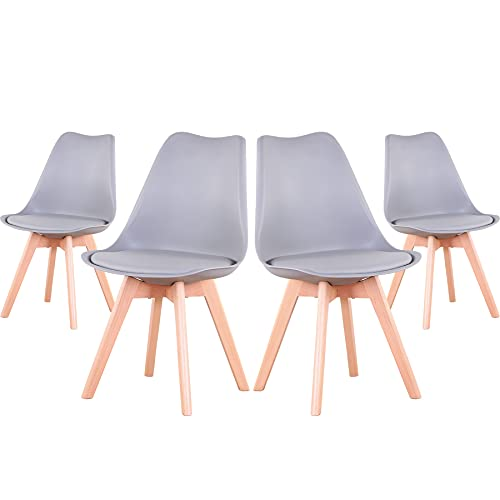 EGOONM Juego de 4 sillas, Silla de Comedor de Estilo nórdico, Apto para Comedor, salón y Cocina (Gris)