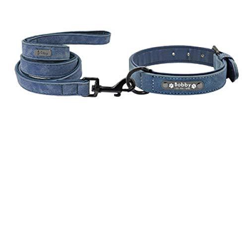 Collar de piel personalizado para perros pequeños, medianos y grandes, para mascotas, arnés M Blueset