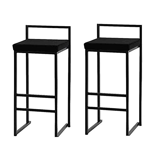 MYAOU Juego de 2 taburetes de Bar industriales, Taburete de Tela de Terciopelo para cocinas, taburetes Altos con reposapiés de Metal, sillas de Comedor Acolchadas Suaves (Negro)