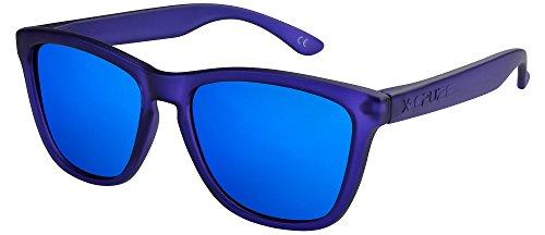 X-CRUZE® 9-062 Gafas de sol Nerd polarizadas estilo Retro Vintage Unisex Caballero Dama Hombre Mujer Gafas - azul oscuro transparente mate/azul tipo espejo